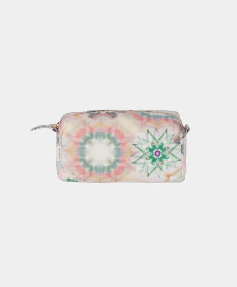 Beauty bag in eco-leather, kaleidoscope print