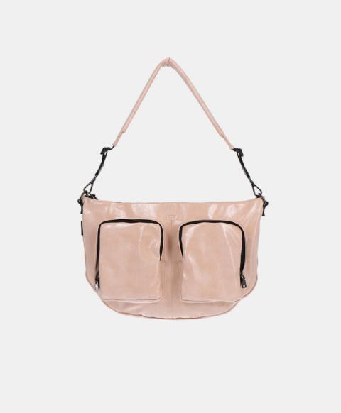 Shoulder bag with pockets in naplak eco-leather, powder