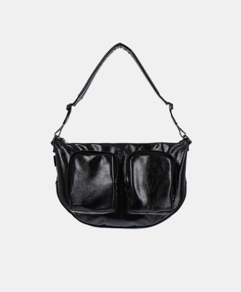 Shoulder bag with pockets in naplak eco-leather, black