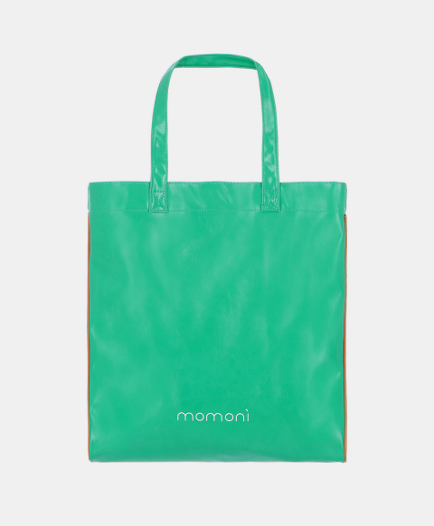 Eco-leather shopper bag with logo, emerald green