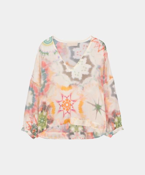 V-neck blouse in kaleidoscope crepe de chine print