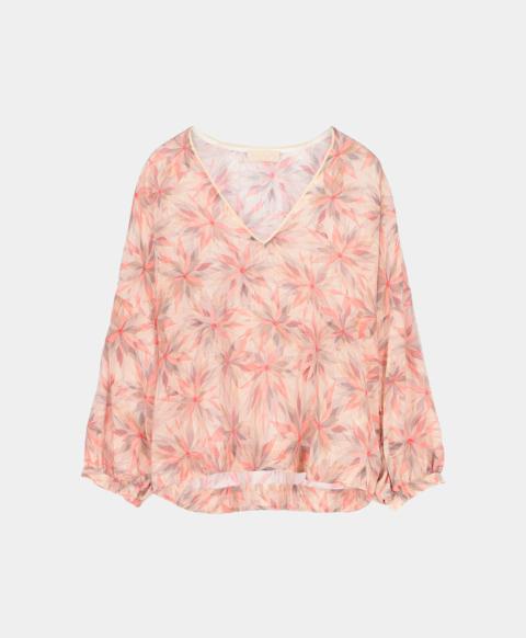 V-neck blouse in pinwheel crepe de chine print