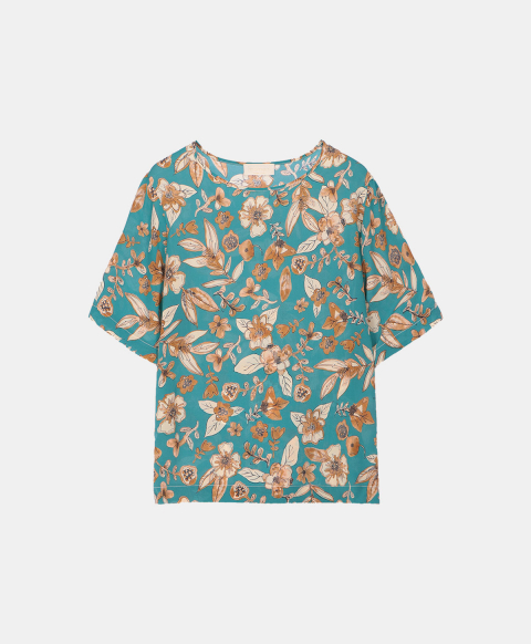 Half-sleeved blouse with watercolour flower print