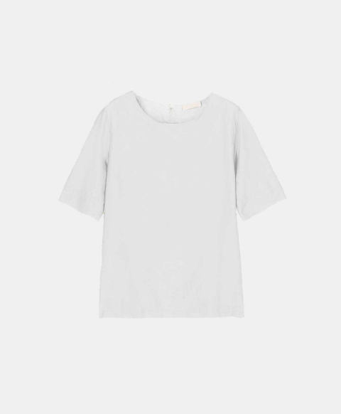 Blouse with short sleeves in cotton silk cream