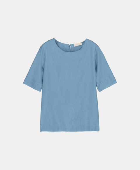 Blouse with short sleeves in silk cotton light blue