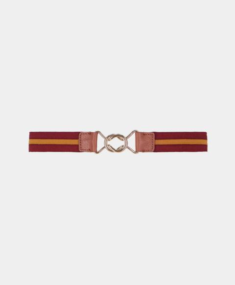 Striped elastic belt, burgundy and gold