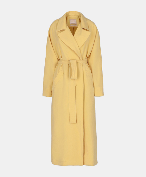 Oversized trench coat with yellow modal belt