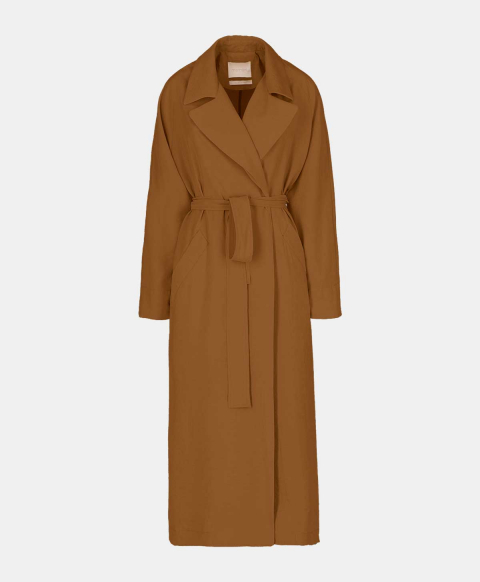 Oversized trench with burnt modal belt