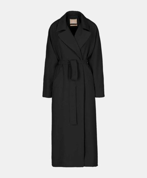 Oversized trench coat with black modal belt