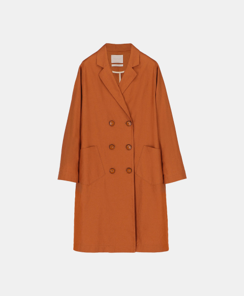 Burnt cotton linen double-breasted coat