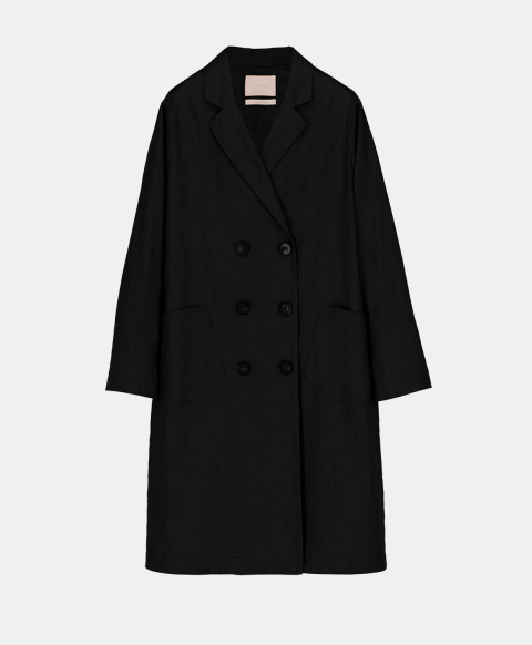 Black cotton linen double-breasted coat