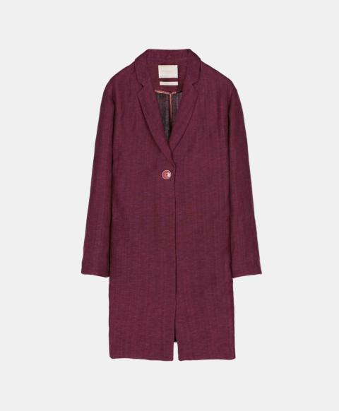 Single breasted unlined short coat, wine