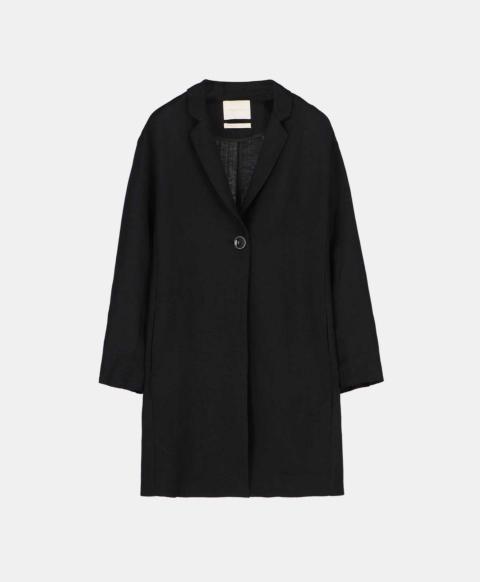 Single-breasted unlined short coat, black