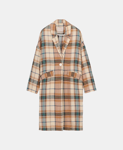 Oversized coat, unlined, in check pattern