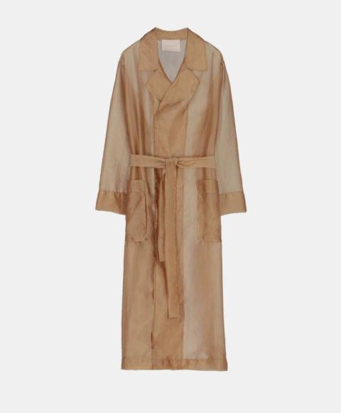 Trench coat with organza belt, beige