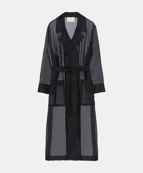 Trench coat with organza belt, black