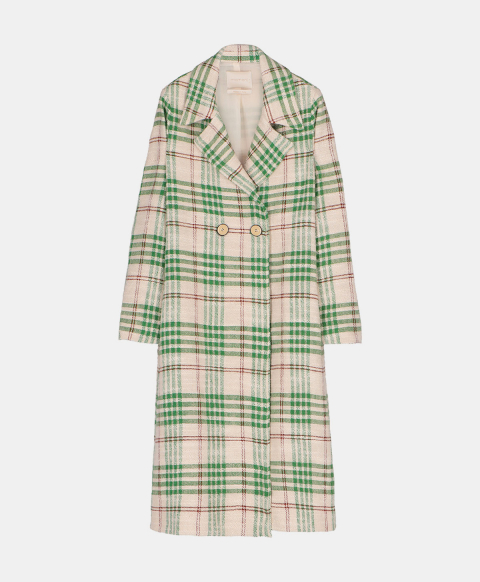 Single-breasted long coat in check pattern