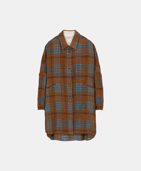 Oversized coat with buttons in check pattern