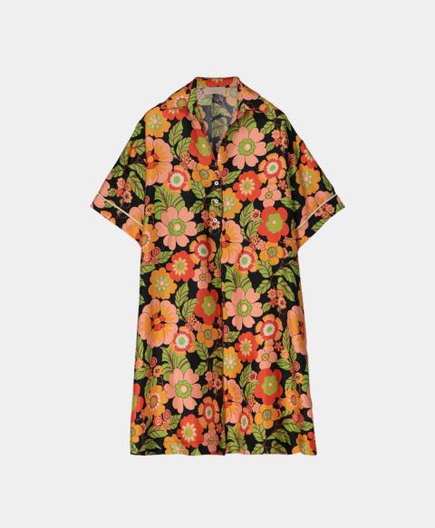 Short silk shirt dress with 70's flower print