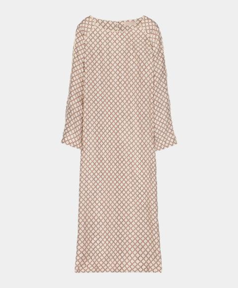 Geometric print silk longuette tunic dress, cream