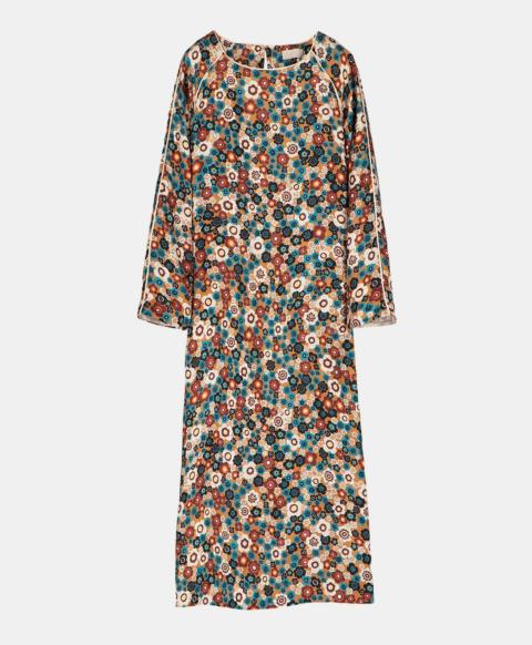 Flower print silk longuette tunic dress
