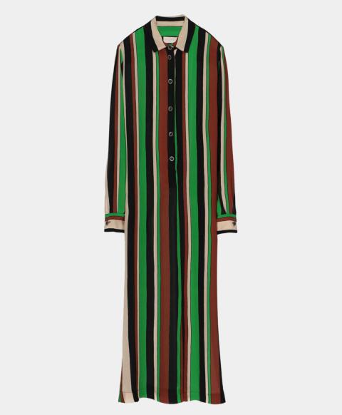 Crepe de chine shirt dress with printed stripes