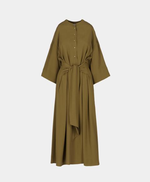Fashion dress with sash and Mao collar, mud