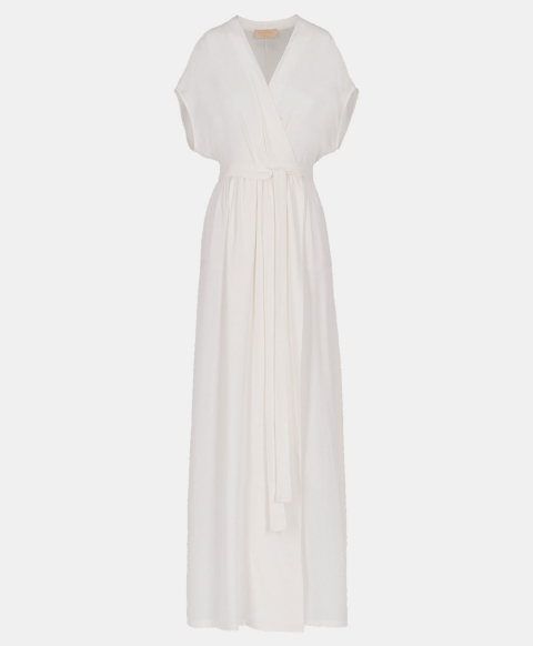 Wrap dress with belt in cream silk blend