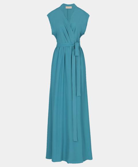 Wrap dress with belt in blue silk blend