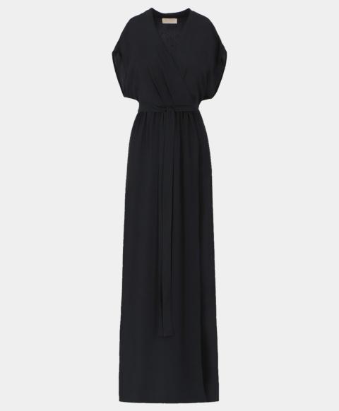 Wrap dress with belt in black silk blend