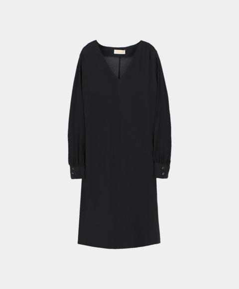Long sleeved dress in black silk blend.