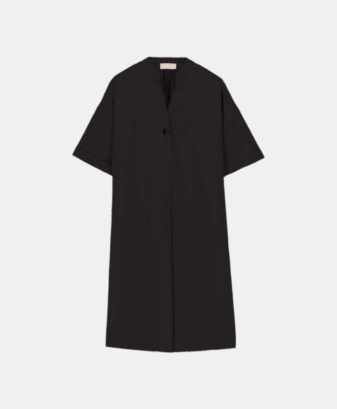 Short black poplin shirt dress