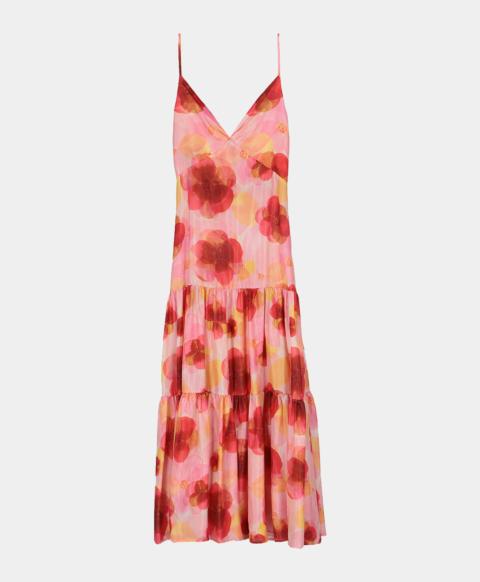 Long dress in silk habutai with pink watercolour print