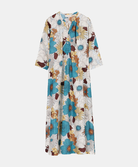 Flared dress in silk habutai with 70's floral print