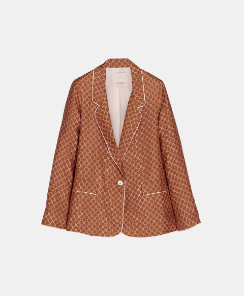 Single breasted silk jacket with geometric clay print