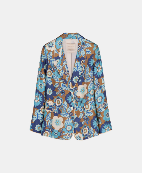Single-breasted silk jacket with 70's flower print