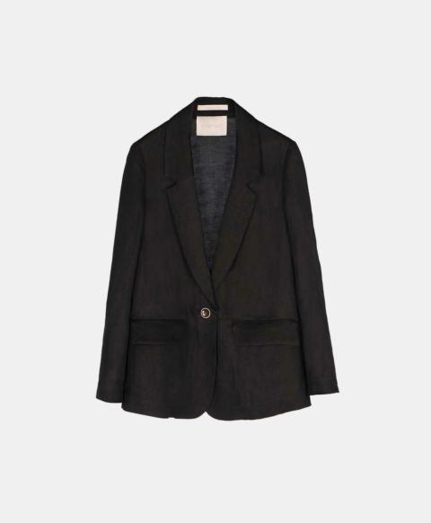 Slim viscose linen single-breasted jacket, black