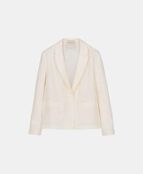 Viscose linen short jacket, cream