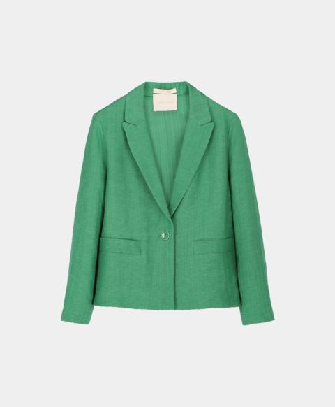Viscose linen short jacket, emerald green