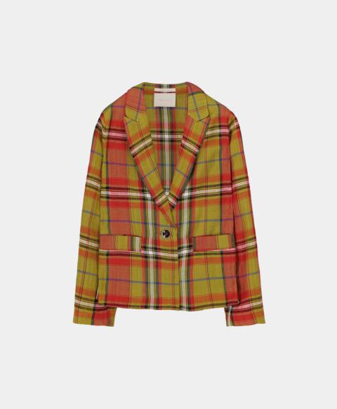 Viscose linen short jacket in check pattern