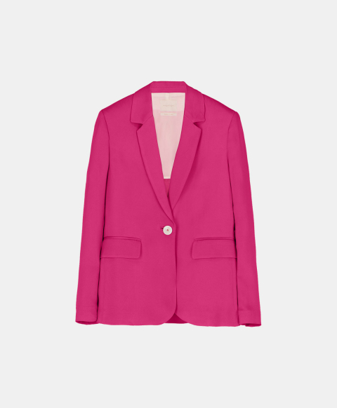 Slim single-breasted cady stretch jacket, fuchsia