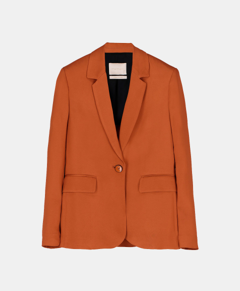Slim single-breasted jacket in stretch cady, burnt colour