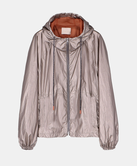 Short jacket with hood in silver technical fabric