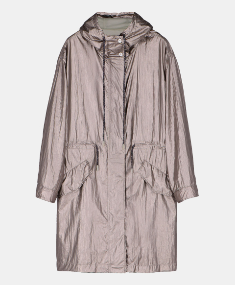 Raincoat with hood in technical fabric, silver