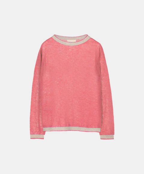 Light mohair crew neck sweater with lurex details, pink