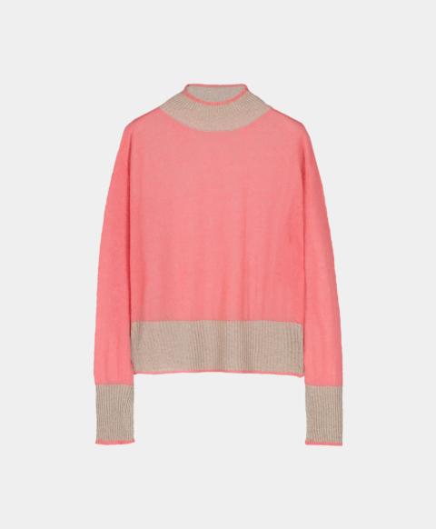 Light mohair crew neck sweater, pink