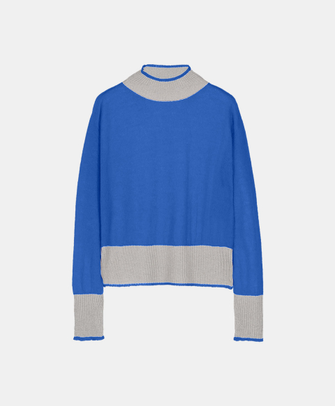 Light mohair crew neck sweater, electric blue