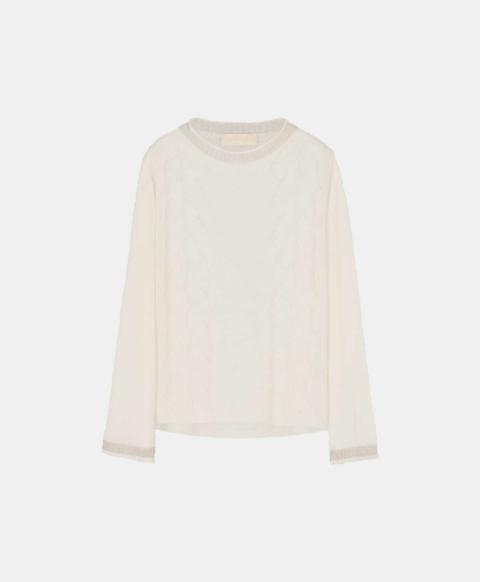 Light mohair cable sweater, light milk