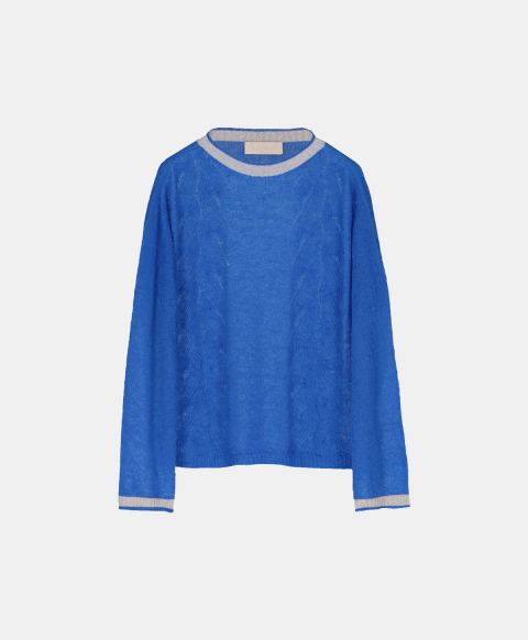 Light mohair cable sweater, bright blue