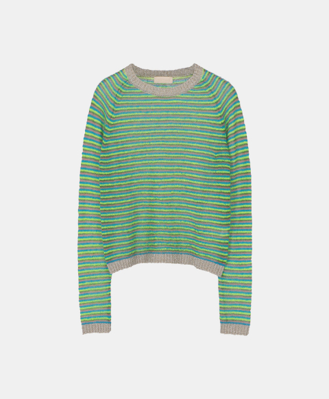 Fluorescent striped mohair crew neck sweater